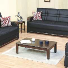Black Leather Sleeper Sofa Set Serta Augustine Convertible Queen Size Bronx Bed By Empire Furniture Usa