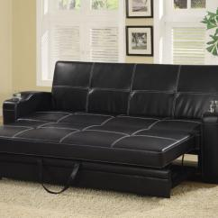 Contemporary Living Room With Black Leather Sofa Orange Couch Ideas Vinyl Bed By Coaster