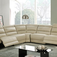 Beige And Brown Leather Sectional Sofa With Built In Footrests Wicker Indoor Set | Review Home Decor
