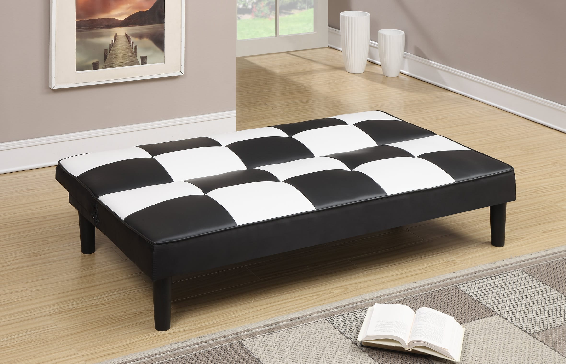 white and black sofa bed gold throws for sofas f7002 convertible by poundex