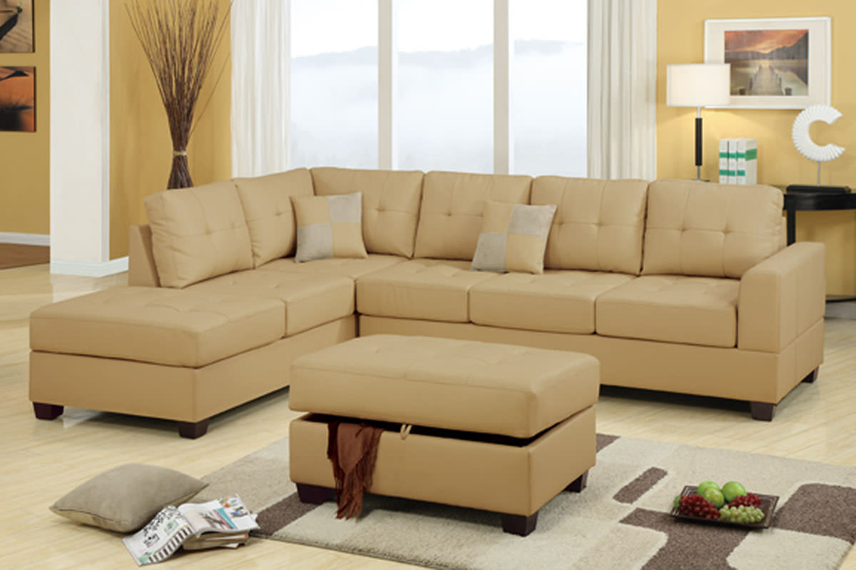 khaki sofa slipcovers sofas for immediate delivery f7326 sectional set by poundex