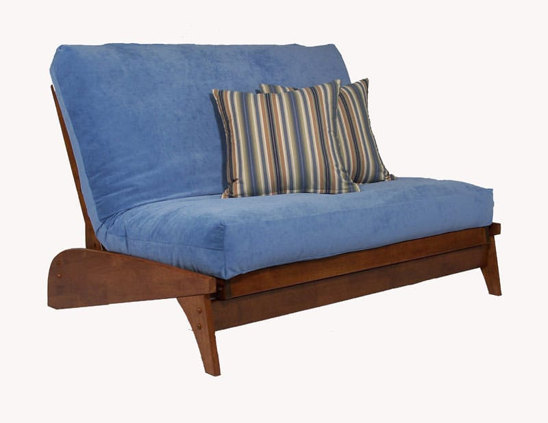 futon and chair set fishing moon dillon dark cherry loveseat wall hugger by strata furniture fibre processing corp