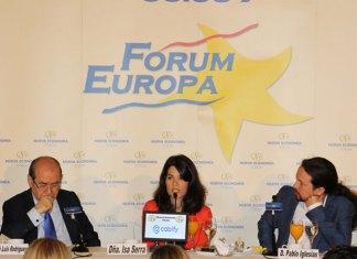 Pablo Iglesias presentó a Isa Serra en el Fórum Europa de Nueva Economía Fórum