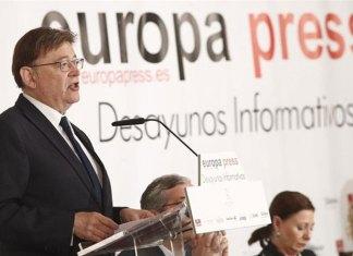 Ximo Puig en los desayudos de Europa Press