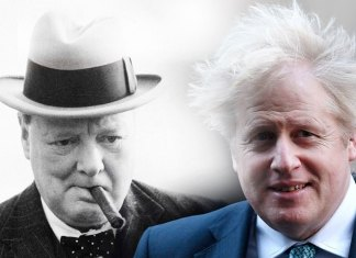 Winston Churchill y Boris Johnson