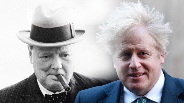 Winston Churchill y Boris Johnson