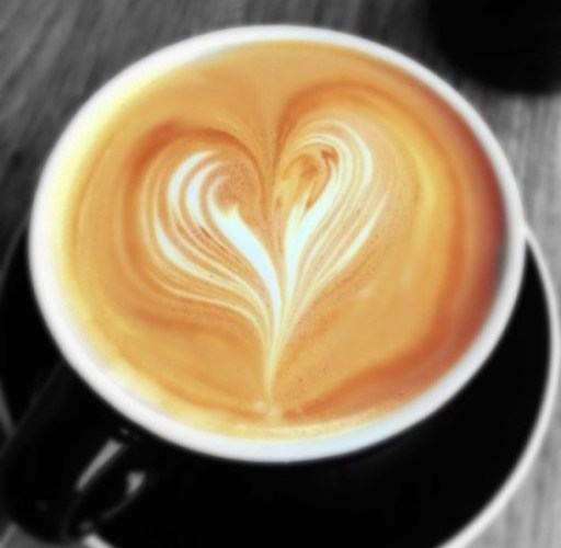 Love heart in a cafe latte coffee