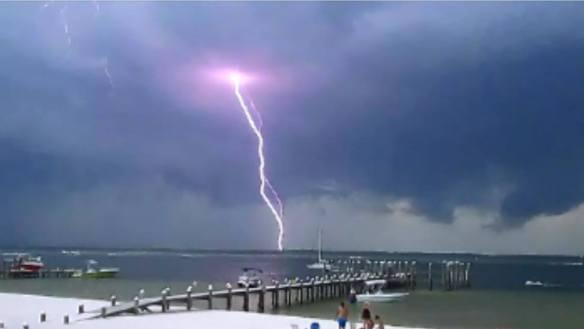 Lightning Strike over the Bay (c) sherry j fundin