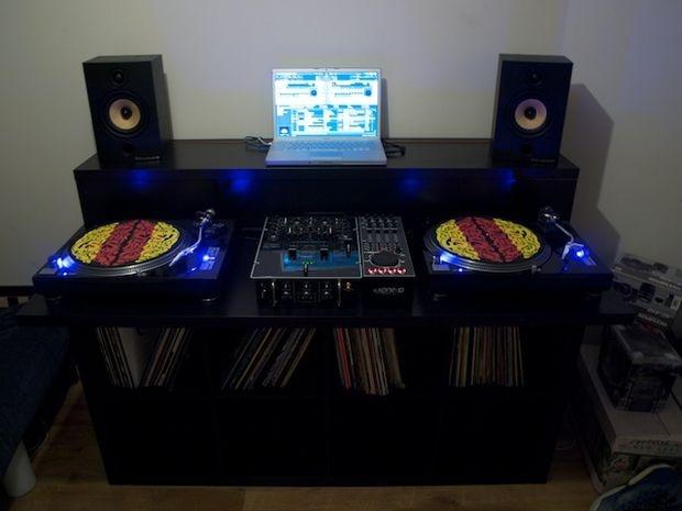 Bedroom DJ With Vinyl Collection DJ Setup At