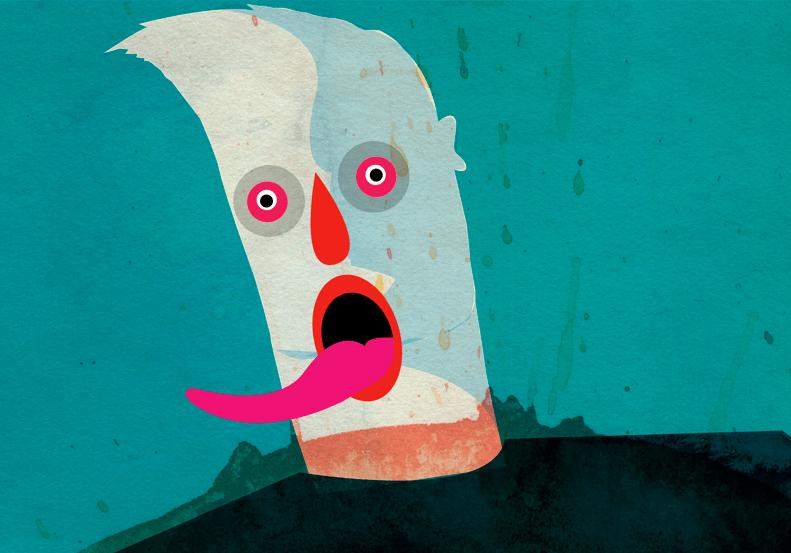 faccia disegnata lingua disegno di alvaro tapia
