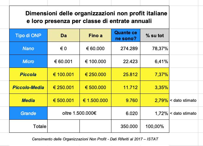 entrate non profit italia istat 2017