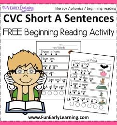 CVC Short A Sentences - Beginning Reading and Phonemic Awareness [ 1152 x 1152 Pixel ]