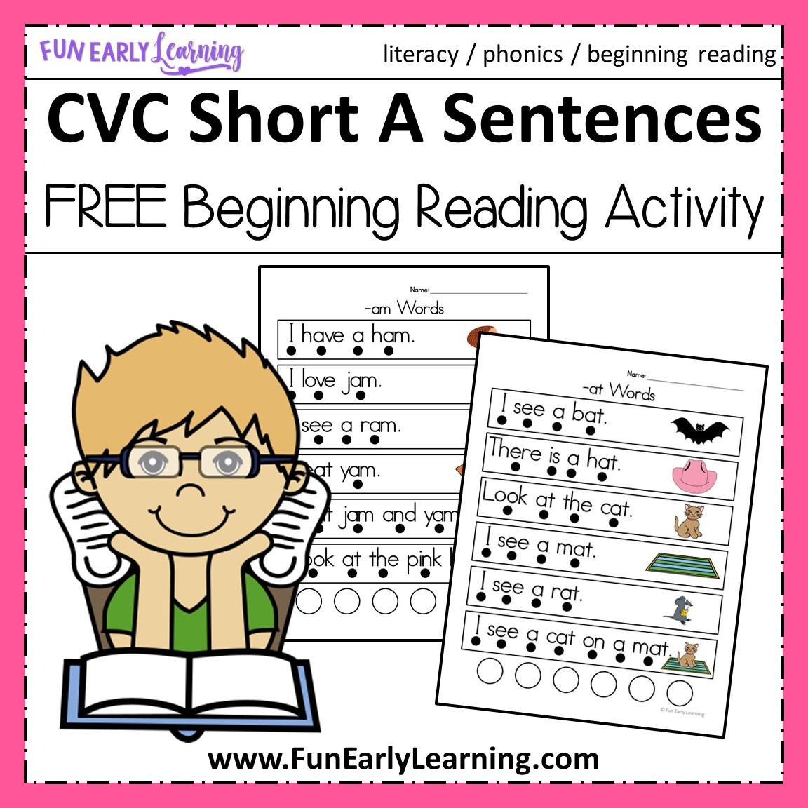 hight resolution of CVC Short A Sentences - Beginning Reading and Phonemic Awareness