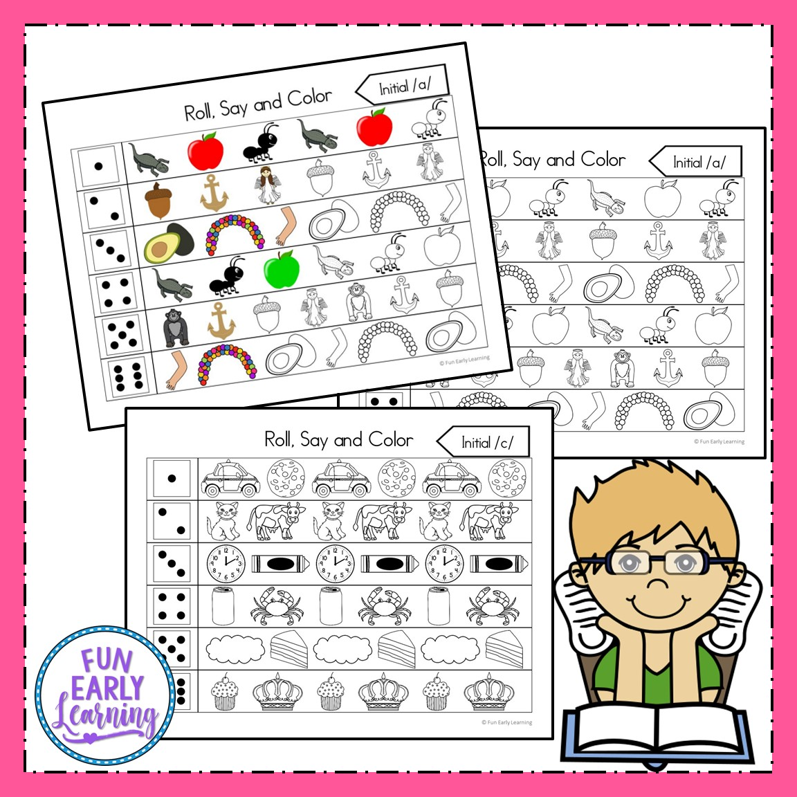 Roll Say And Color Initial Sounds Activity For Phonics Amp Beginning Reading