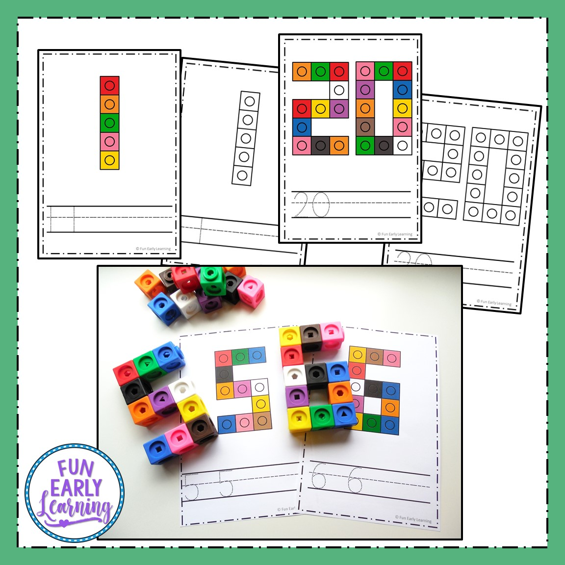 hight resolution of Snap Cube Numbers - Hands-on Math Activity for Number Identification