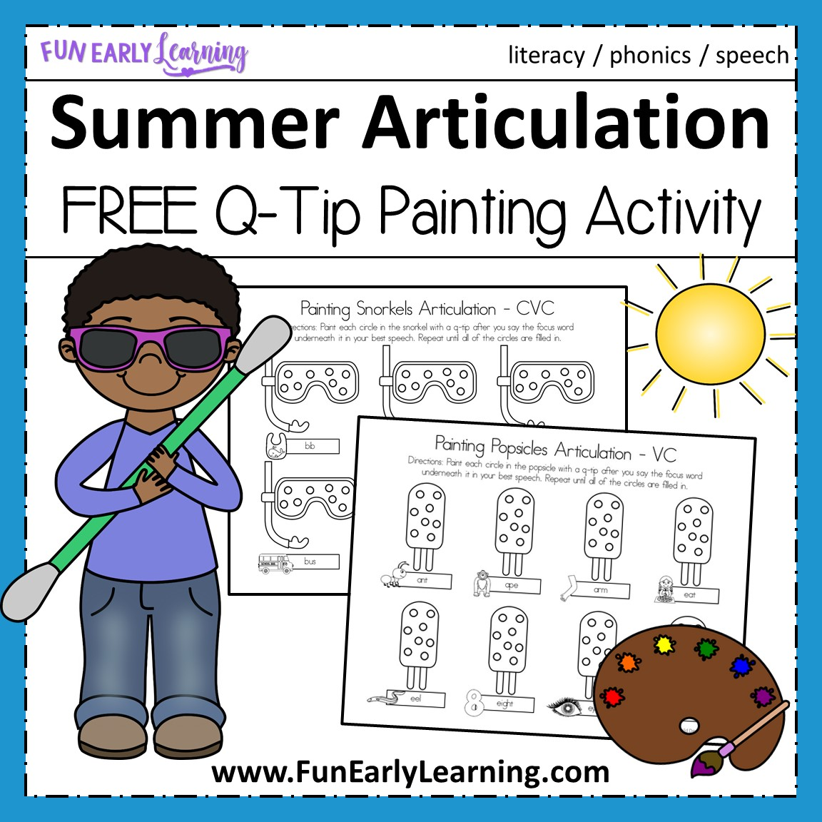 Summer Articulation Q Tip Painting For Speech Practice
