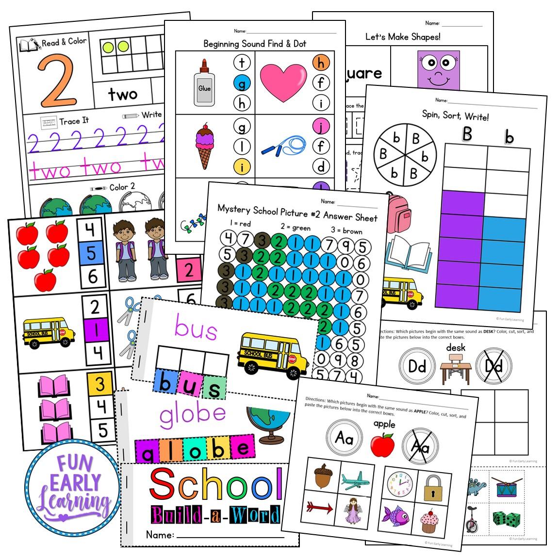 Back To School Math And Literacy Activities For Preschool And Kindergarten