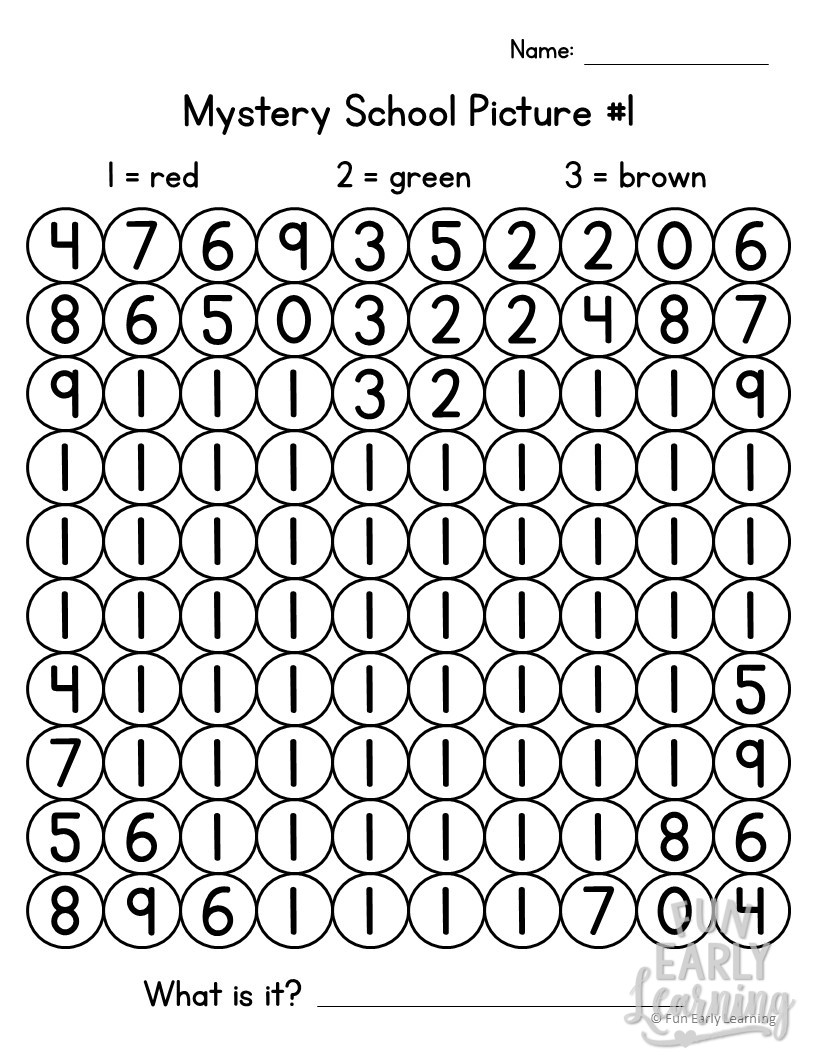 Back to School Math Mystery Pictures for Preschool and