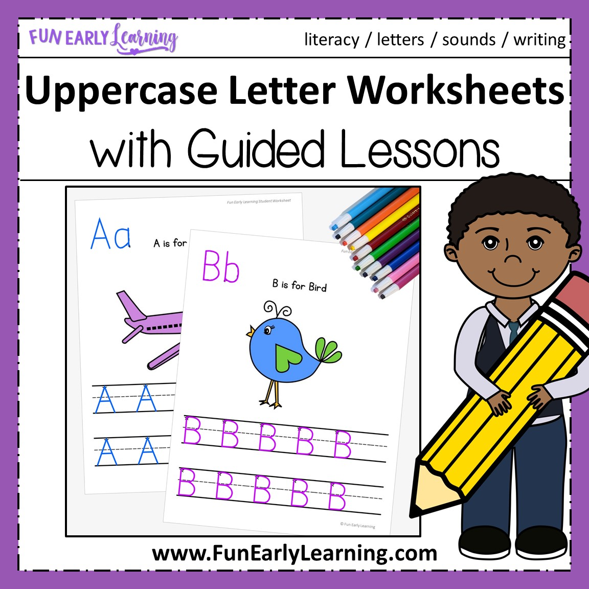 Uppercase Letter Worksheets With Guided Lessons For Prek