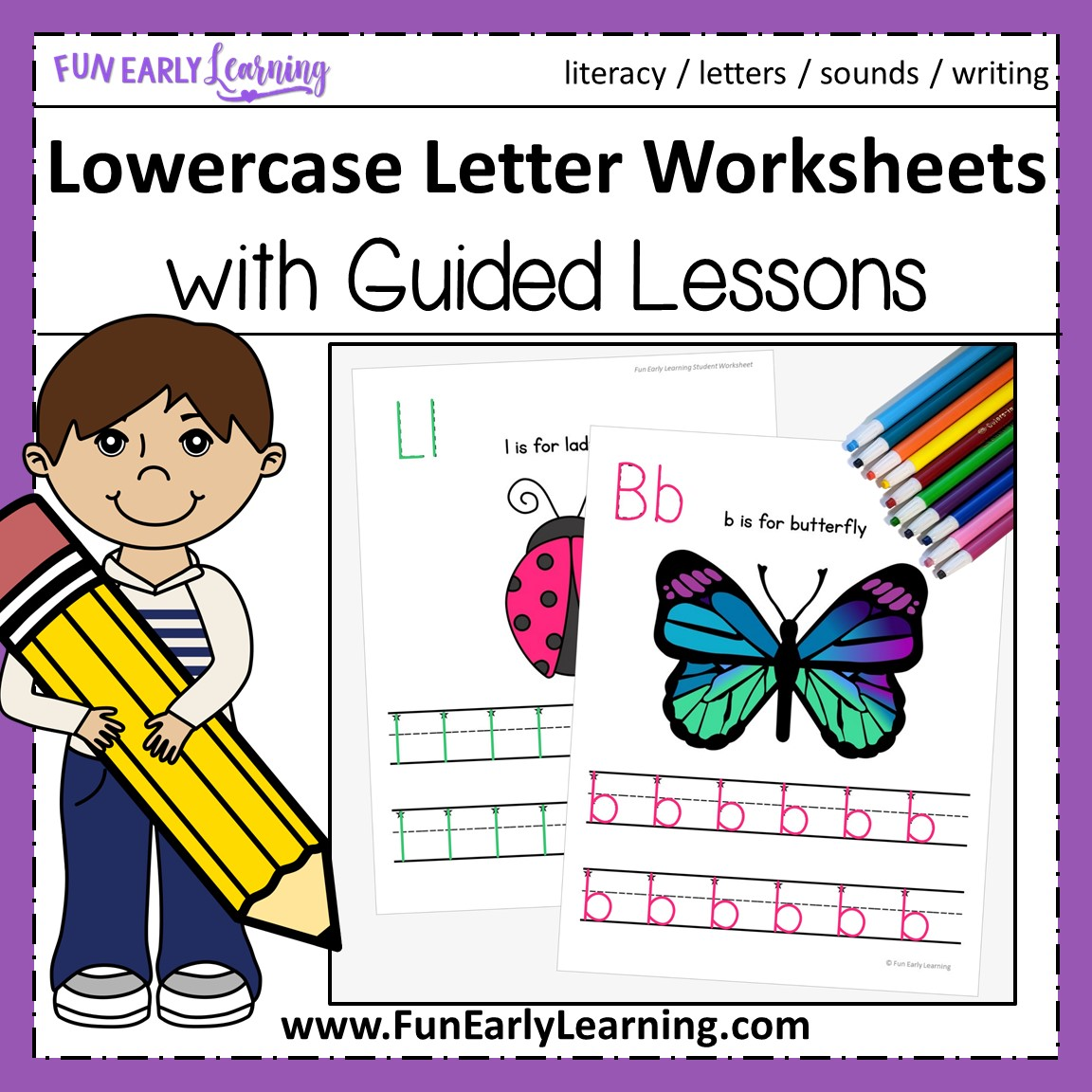Lowercase Letter Worksheets With Guided Lessons For Prek And Kinder