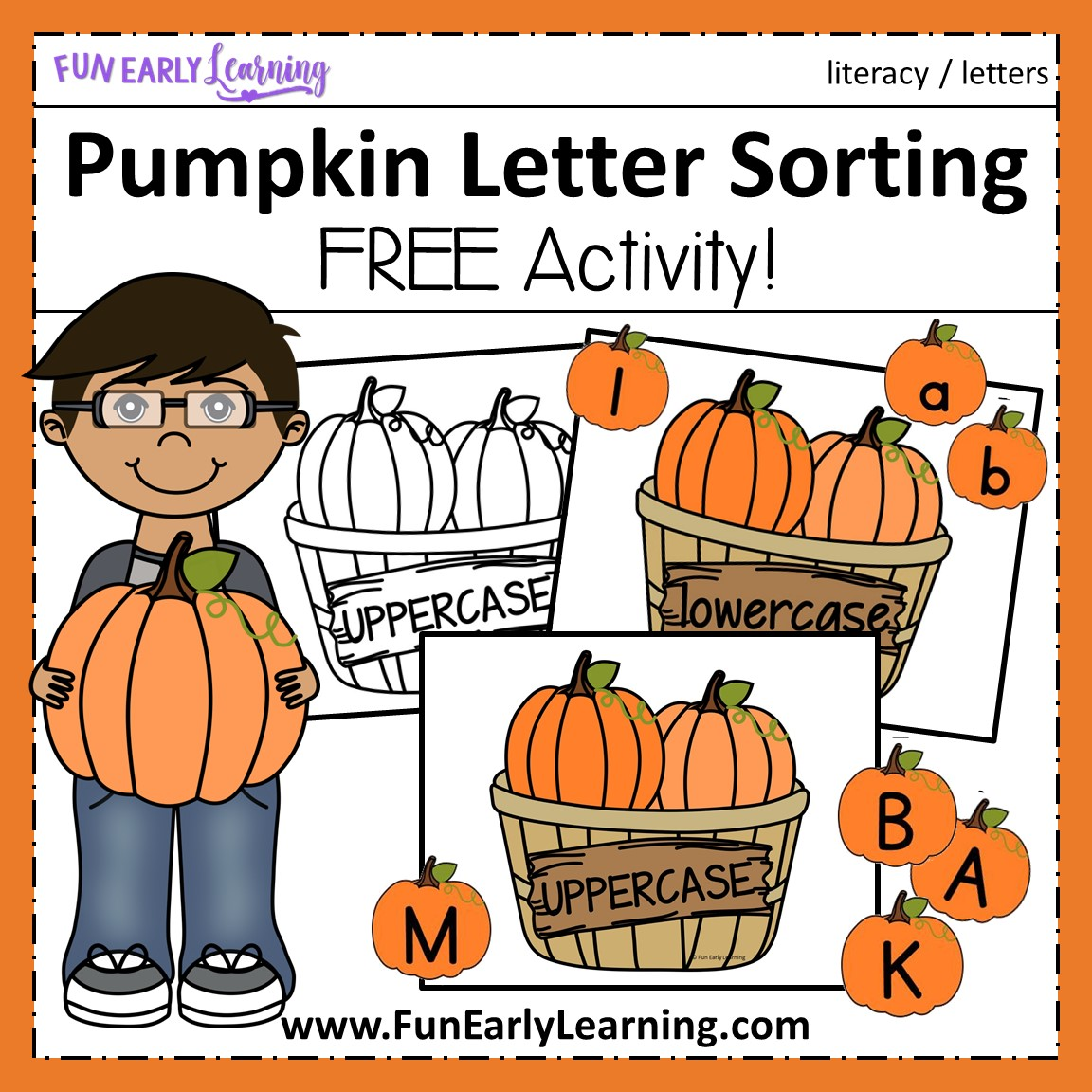 Pumpkin Letter Sorting Activity For Uppercase And