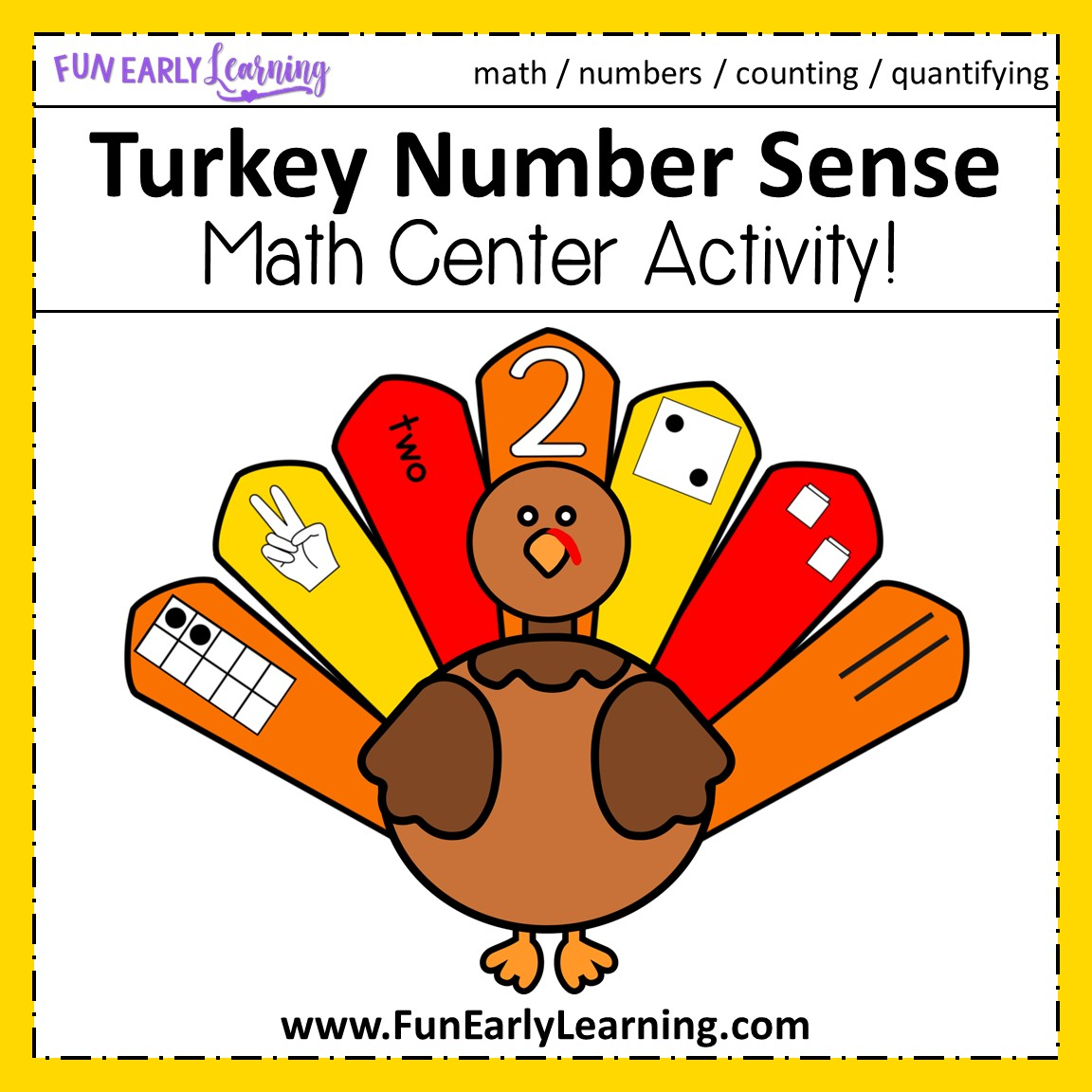 Turkey Number Sense Thanksgiving Math Activity For