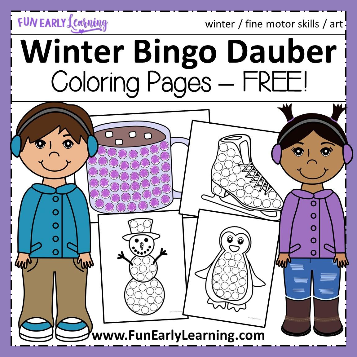 Winter Bingo Dauber Coloring Pages Free Printable
