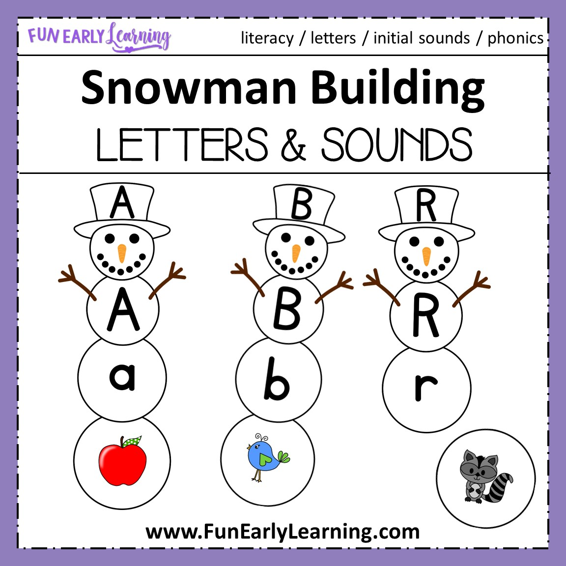 Winter Snowman Building For Letter Sound Correspondence