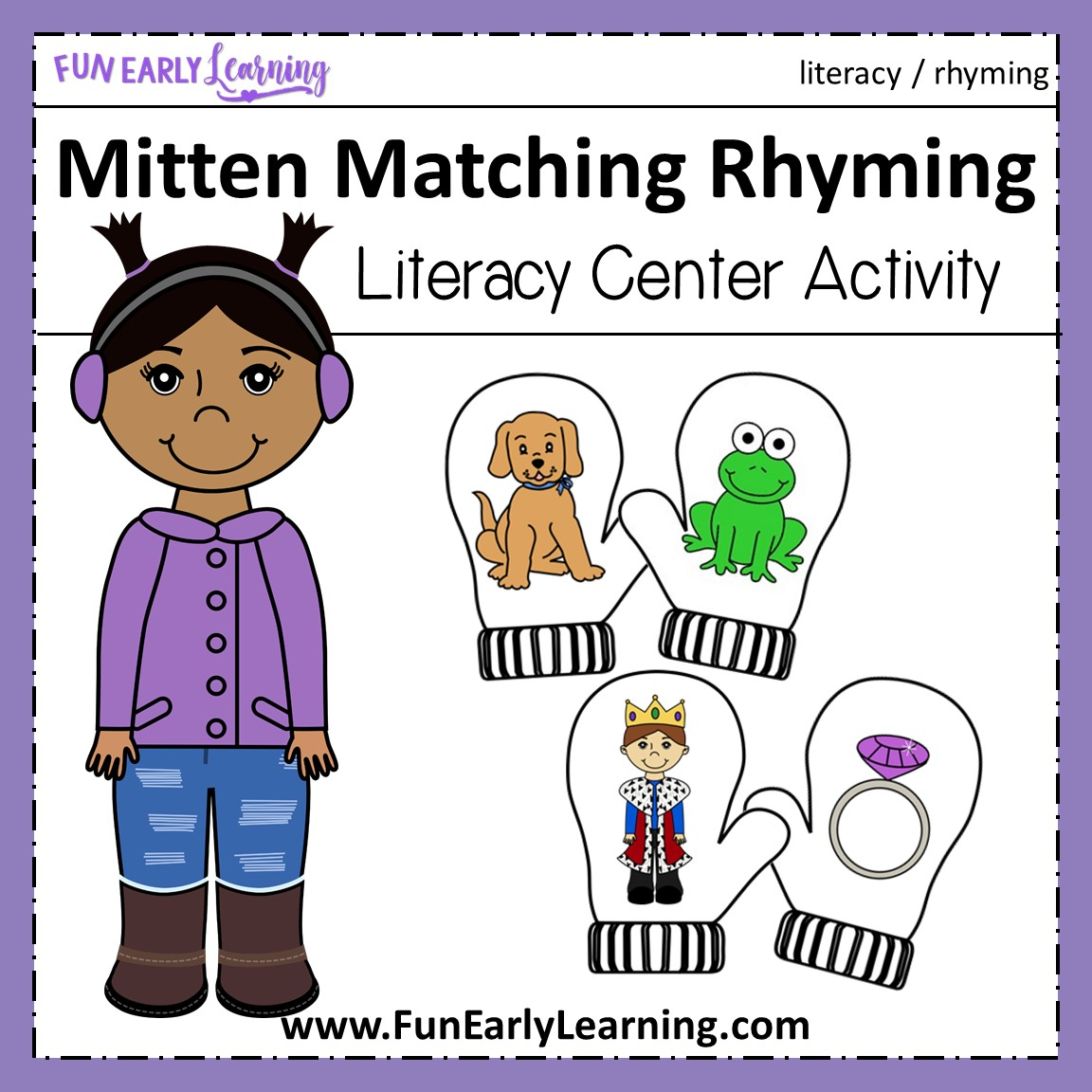Winter Mitten Matching Rhyming Activity For Preschool And