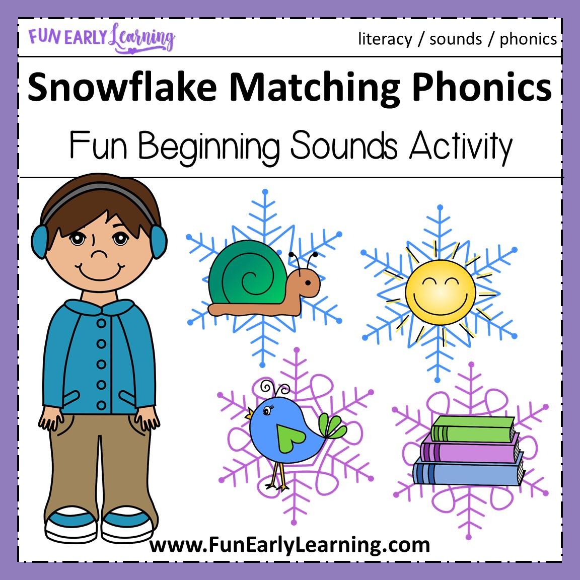 Winter Snowflake Matching Beginning Sounds Phonics Activity