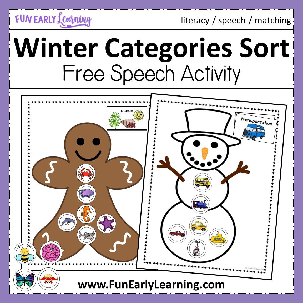Winter Categories Sorting Speech Activity For Preschool And Kindergarten