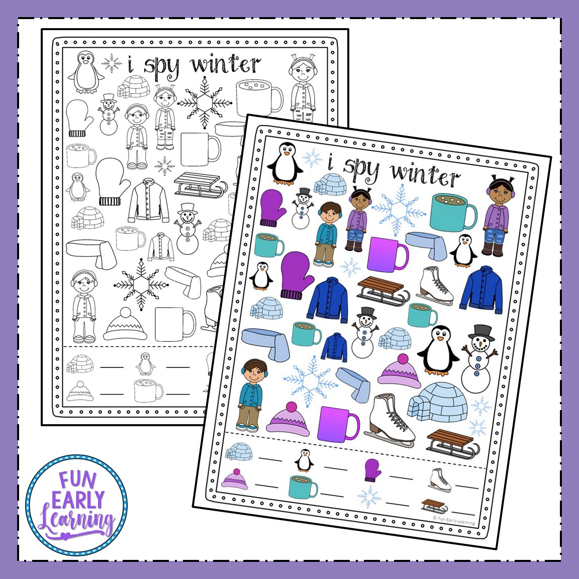 I Spy Winter Free Printable For Matching And Counting