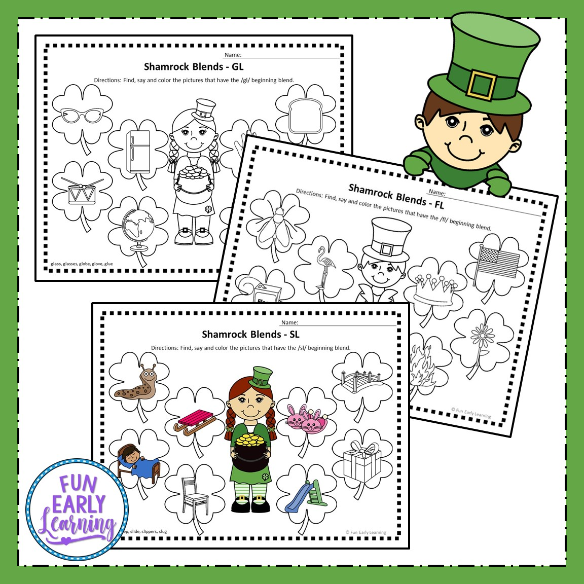 Shamrock L Blends Articulation Speech Activity For Preschool And Kinder