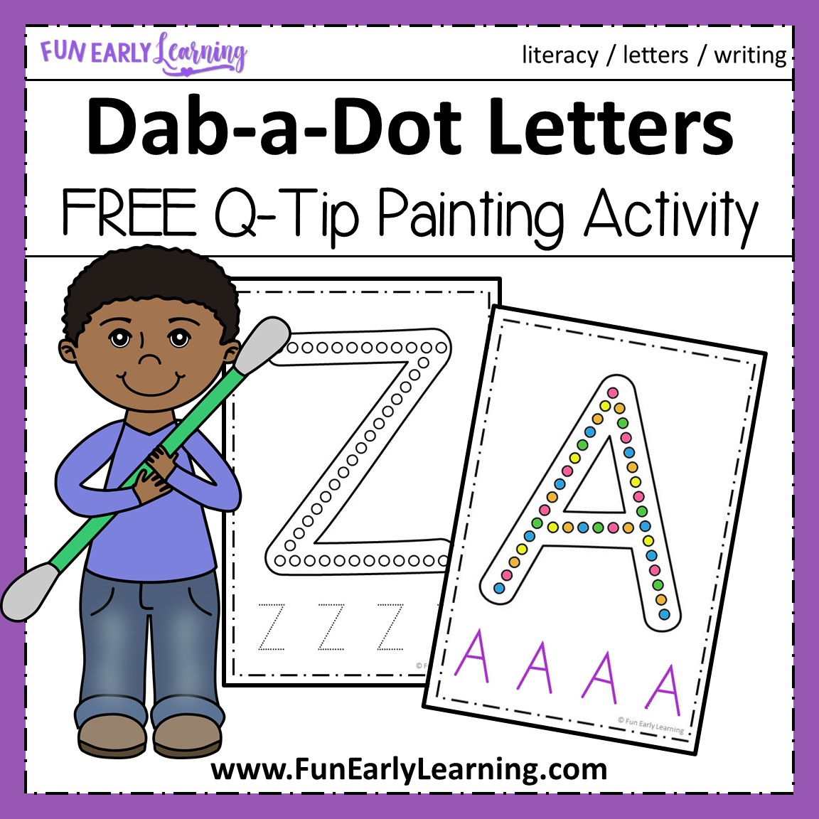 Dab A Dot Letters Q Tip Painting Fun Free Printable