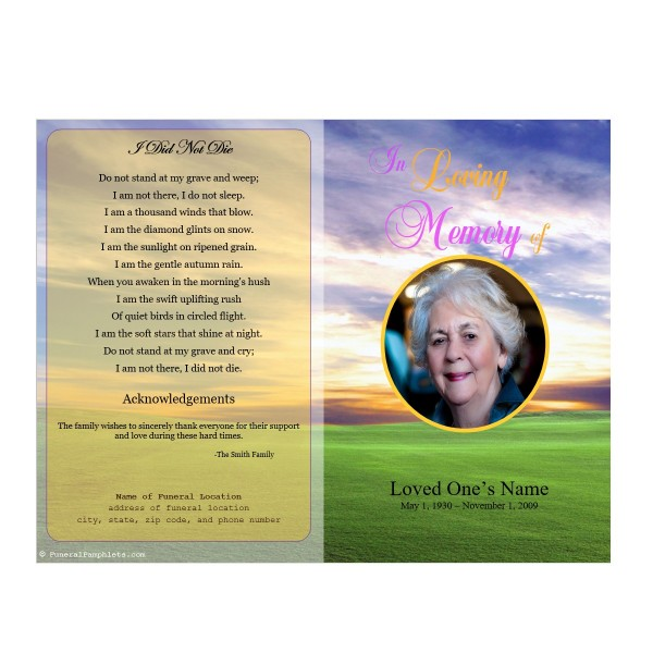 Meadow Memorial Program Funeral Pamphlets