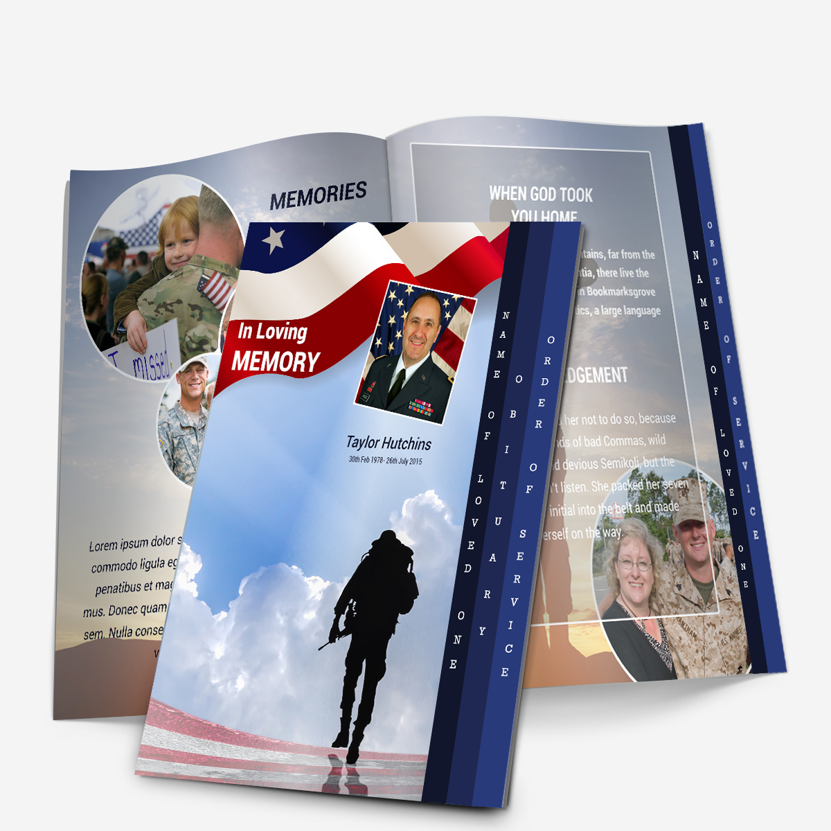 Military 4 Page Graduated Funeral Pamphlets