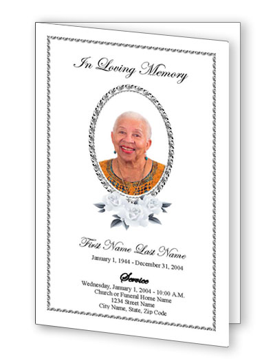 Classic Floral Bifold Funeral Program Template