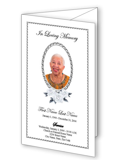 Classic Floral Trifold Funeral Program Template