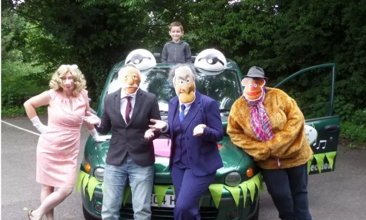 Martine 'Miss Piggy' Smith, Lesley 'Waldolf' Sheppard, Clare 'Statler' Brookes and Michelle 'Fozzy Bear' Orton with Jayden