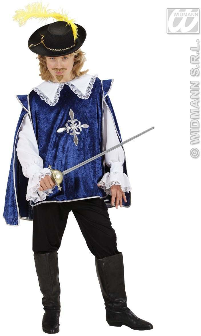 Blue Musketeer Fancy Dress Costume Boys Musketeers