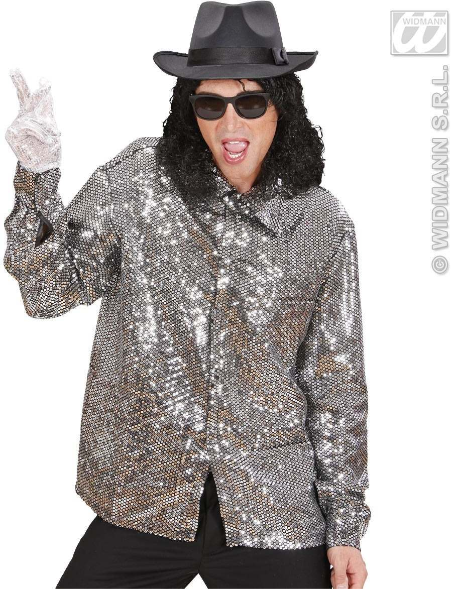 Silver Sequin Shirt Fancy Dress Costume Mens Music