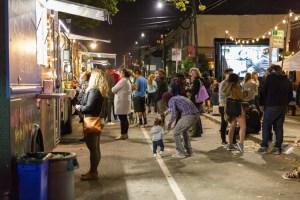 Food trucks at outdoor movie screening