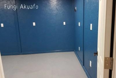 Blue room painted floor