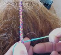 hair plaited with thread plaited yarn braids