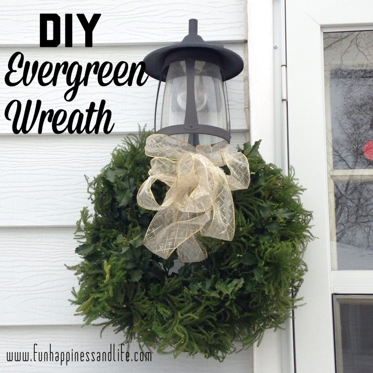 Evergreen wreaths are easy to put together and need only a wire hanger hold in place on your outside light to add to your Christmas decor.