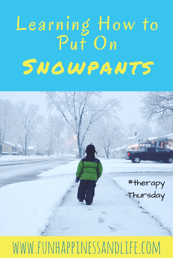 Learning to put on snowpants is a life skill in the winter. If your child knows how it can save you and their teacher precious time. .