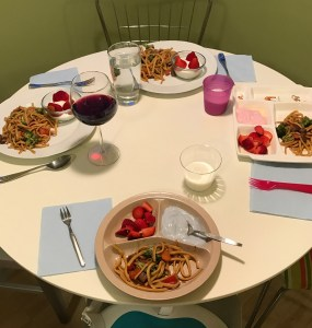 Homemade Chinese takeout dish of pork, vegetables and lo mein, made with spaetzle noodles. Everyone had seconds that's how yummy it is!
