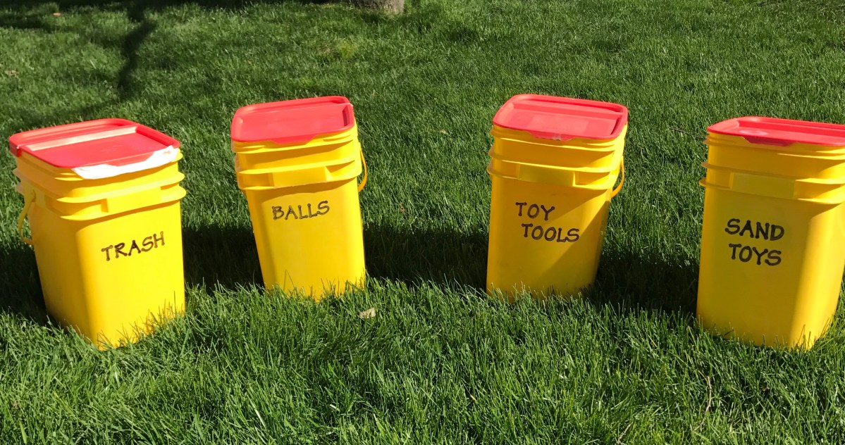 DIY Organizing Containers made from Upcycled Cat Litter Pails