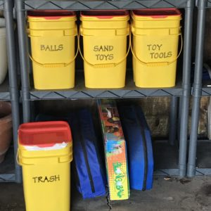DIY Organizing Containers made from upcycled and reused cat litter pails.