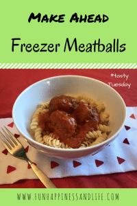 Make Ahead Freezer Meatballs is an easy food item to have on hand. Just grab some out of the freezer on a busy night to satisfy the whole family.